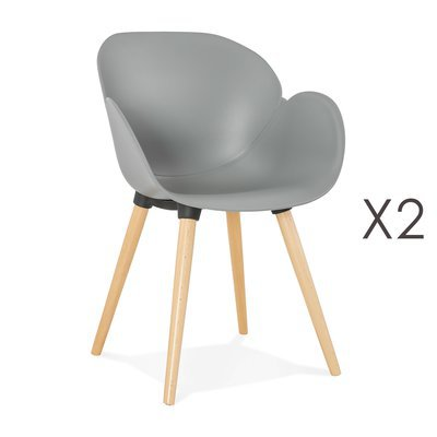 Lot de 2 chaises coque plastique gris - NOVAK
