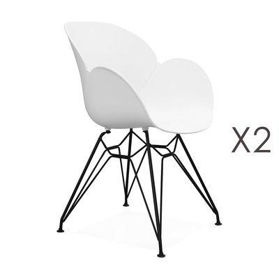 Lot de 2 fauteuils design blanc piétement métal noir- UMILA
