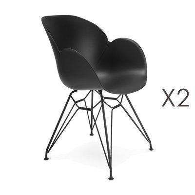 Lot de 2 fauteuils design noir piétement métal noir- UMILA