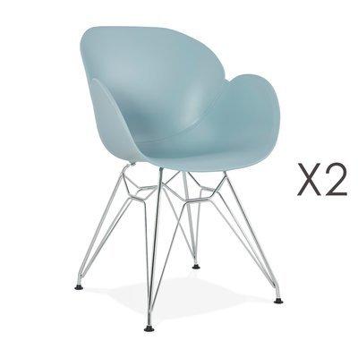 Lot de 2 fauteuils design bleu piétement métal - UMILA