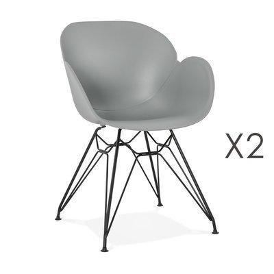 Lot de 2 fauteuils design gris piétement métal noir- UMILA