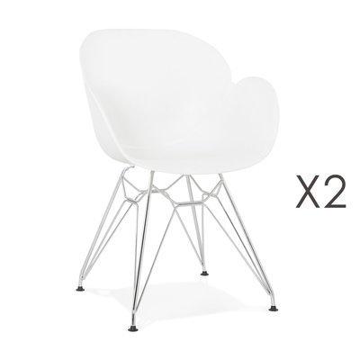 Lot de 2 fauteuils design blanc piétement métal - UMILA