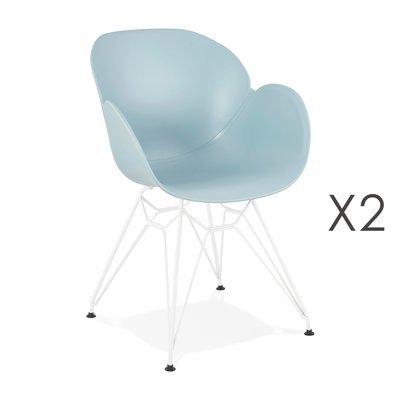 Lot de 2 fauteuils design bleu piétement métal blanc - UMILA
