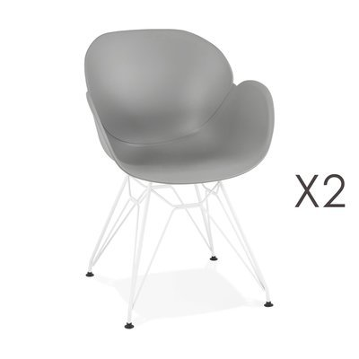 Lot de 2 fauteuils design gris piétement métal blanc - UMILA
