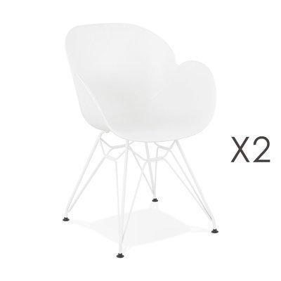 Lot de 2 fauteuils design blanc piétement métal blanc - UMILA