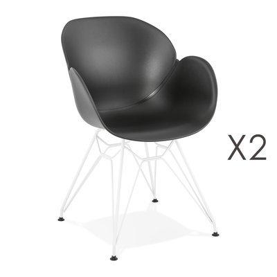 Lot de 2 fauteuils design noir piétement métal blanc - UMILA