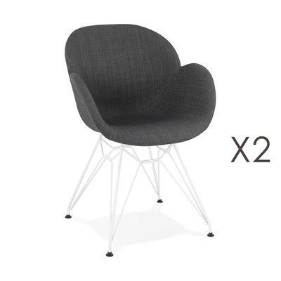 Lot de 2 fauteuils design en tissu gris piétement métal blanc - UMILA