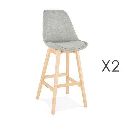 Lot de 2 chaises de bar design 48x112x56 cm tissu gris - ELO