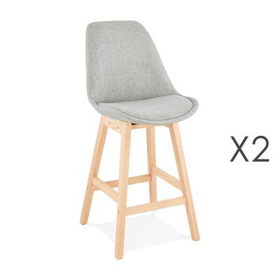 Lot de 2 chaises de bar design 48x102x56 cm tissu gris - ELO