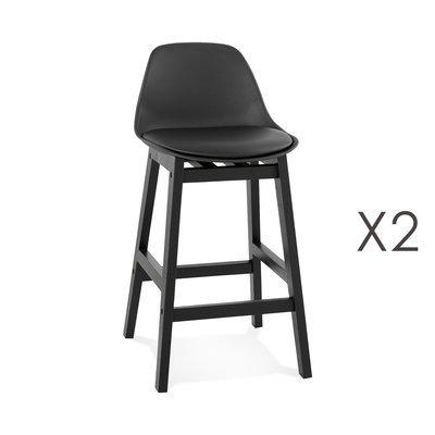 Lot de 2 chaises de bar 38,5x43x86,5 cm noir et pieds noir - ELO