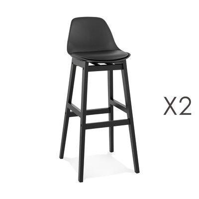 Lot de 2 chaises de bar 42x48x102 cm noir et pieds noir - ELO