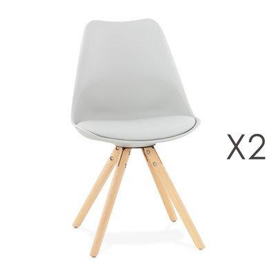 Lot de 2 chaises coins arrondis gris clair - LUCIE