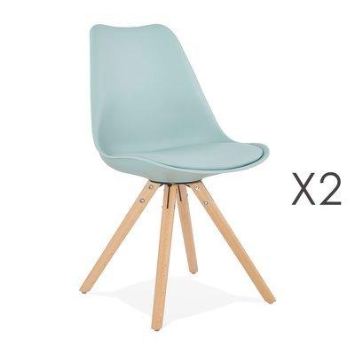 Lot de 2 chaises coins arrondis bleu clair - LUCIE