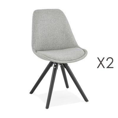 Lot de 2 chaises coins arrondis en tissu gris et pieds noir - LUCIE