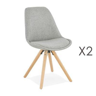 Lot de 2 chaises coins arrondis en tissu gris - LUCIE