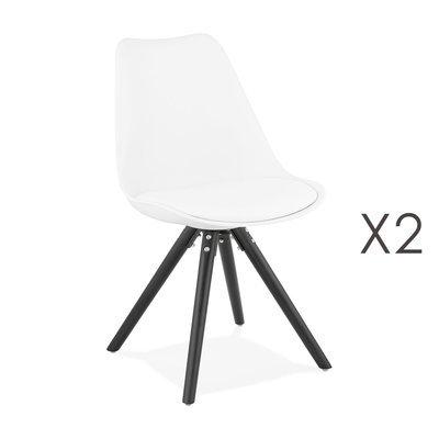 Lot de 2 chaises coins arrondis blanc et pieds noir - LUCIE