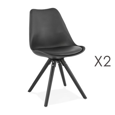 Lot de 2 chaises coins arrondis noir et pieds noir - LUCIE