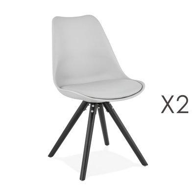 Lot de 2 chaises coins arrondis gris et pieds noir - LUCIE