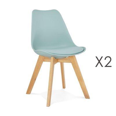 Lot de 2 chaises repas coins arrondis bleu et pieds naturel - LUCIE