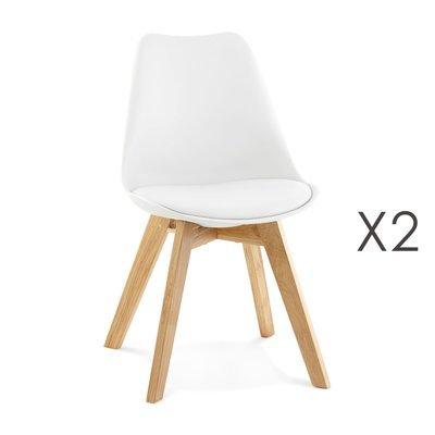 Lot de 2 chaises repas coins arrondis blanc et pieds naturel - LUCIE
