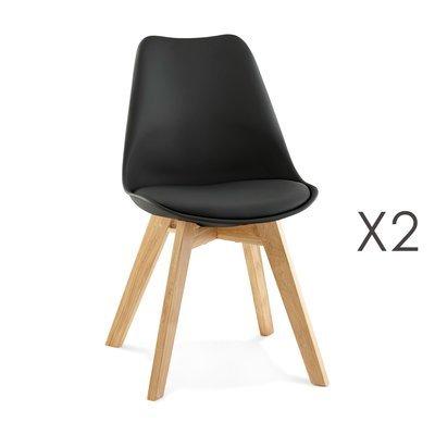 Lot de 2 chaises repas coins arrondis noir et pieds naturel - LUCIE