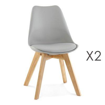 Lot de 2 chaises repas coins arrondis gris et pieds naturel - LUCIE