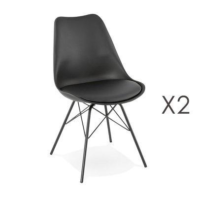 Lot de 2 chaises repas coins arrondis en PU et métal noir - LUCIE