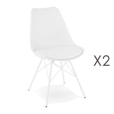 Lot de 2 chaises repas coins arrondis en PU et métal blanc - LUCIE