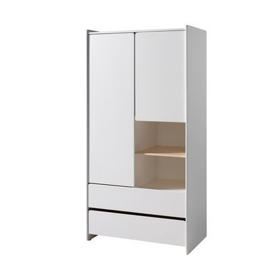 Armoire 2 portes et 2 tiroirs 90x55x180 cm en pin blanc - KIDLY