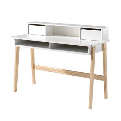 Bureau 2 tiroirs et 2 niches en pin blanc et naturel - KIDLY