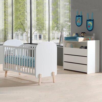 Lit bébé 60x120 cm + commode et plan à langer en pin blanc - KIDLY