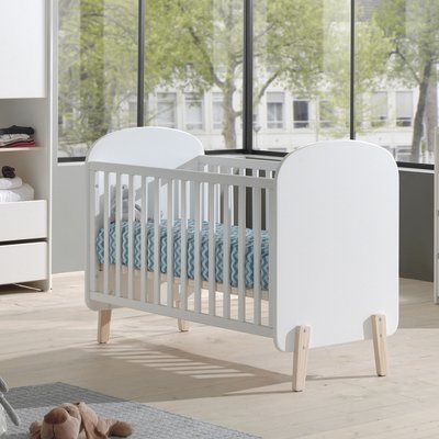 Lit bébé 60x120 cm + commode et plan à langer + armoire en pin blanc - KIDLY