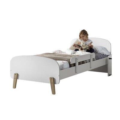 Lit 90x200 cm + barrière de lit en pin blanc - KIDLY
