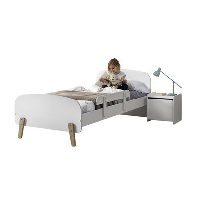 Lit 90x200 cm + barrière de lit + chevet en pin blanc - KIDLY