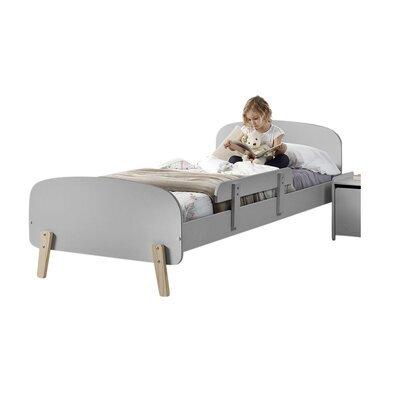 Lit 90x200 cm + barrière de lit en pin gris - KIDLY