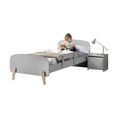 Lit 90x200 cm + barrière de lit + chevet en pin gris - KIDLY