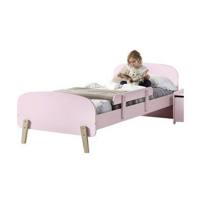 Lit 90x200 cm + barrière de lit en pin rose - KIDLY