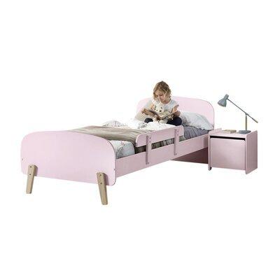 Lit 90x200 cm + barrière de lit + chevet en pin rose - KIDLY