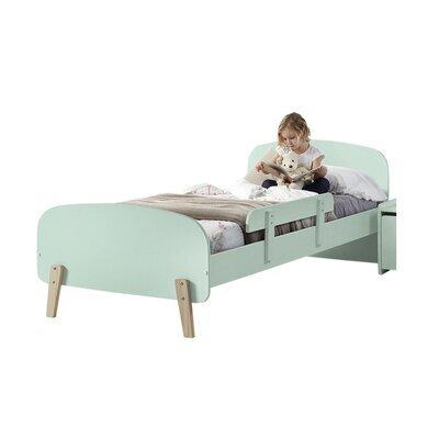 Lit 90x200 cm + barrière de lit en pin vert-menthe - KIDLY