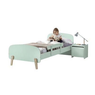 Lit 90x200 cm + barrière de lit + chevet en pin vert-menthe - KIDLY