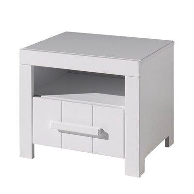 Chevet 1 tiroir 50x39x42 cm en pin blanc - VICKY