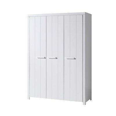 Armoire 3 portes 144x57,5x205,5 cm en pin blanc - VICKY