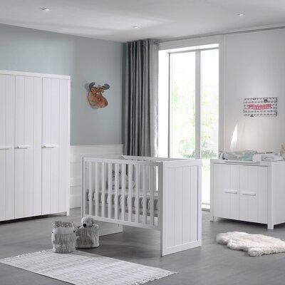 Lit bébé + commode + armoire 3 portes en pin blanc - VICKY