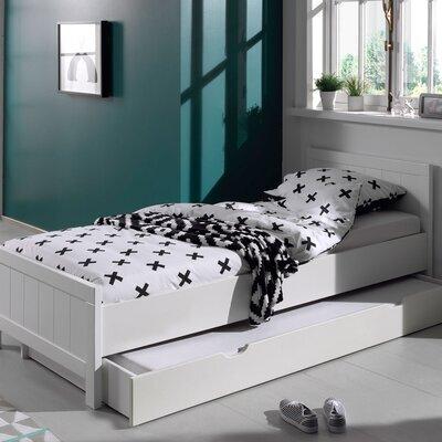 Lit 90x200 cm avec sommier + tiroir en pin blanc - VICKY