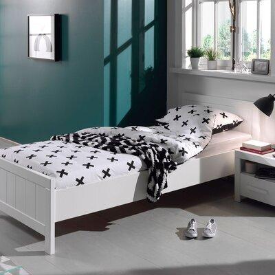 Lit 90x200 cm avec sommier + chevet en pin blanc - VICKY