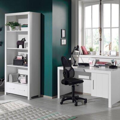 Ensemble bureau +  bibliothèque en pin blanc - VICKY