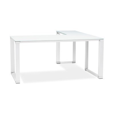 Bureau d'angle 170x160x74 cm en verre blanc - WARNY