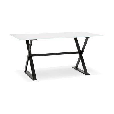 Bureau design 160x80x75 cm en verre blanc - MAIDY