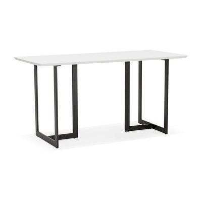 Bureau 150x70x76 cm avec plateau blanc et pieds noir - THALIE