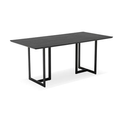Bureau 180x90x76 cm avec plateau noir et pieds noir - THALIE